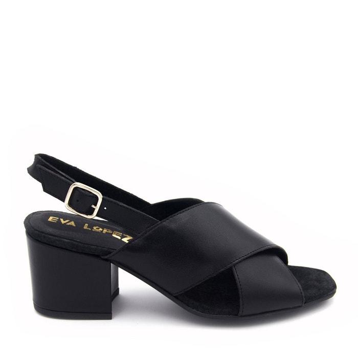 Sandales en cuir  noir Eva Lopez  La Redoute