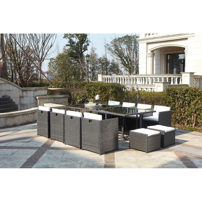 Salon de jardin résine tressée 12 places, miami 12 gris coussin ...