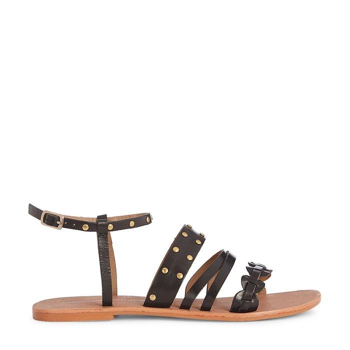 Sandales en cuir à clous  noir Monoprix  La Redoute