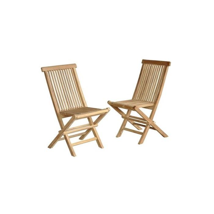 lot de 2 chaises de jardin en bois de teck pliantes teck brut bois dessus bois dessous la redoute. Black Bedroom Furniture Sets. Home Design Ideas