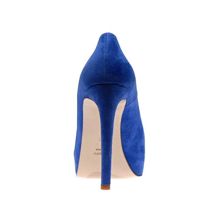 Escarpins peep toe bleu royal Evita