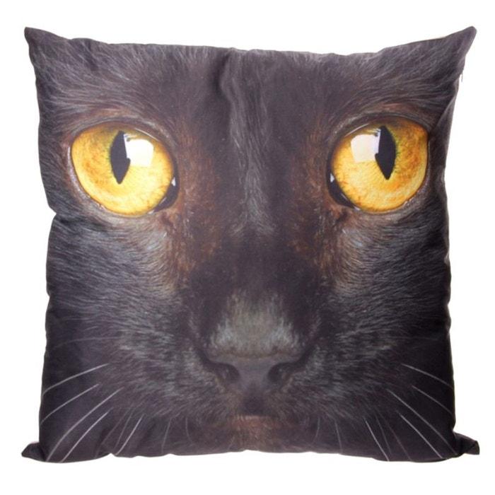 Coussin motif chat noir en housse ™