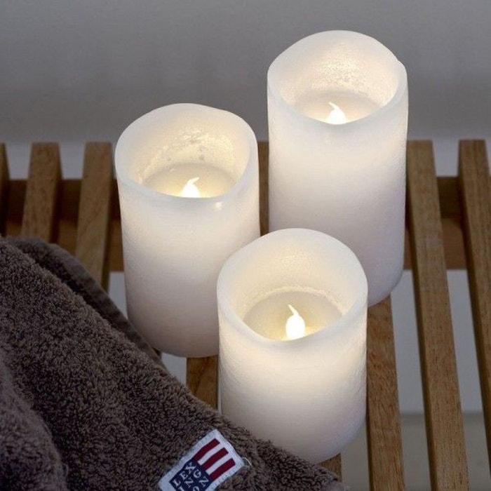 bougies led cire he tenna sirius lot de 3 blanc sirius la redoute. Black Bedroom Furniture Sets. Home Design Ideas