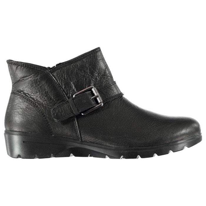 Bottines en cuir noir Skechers