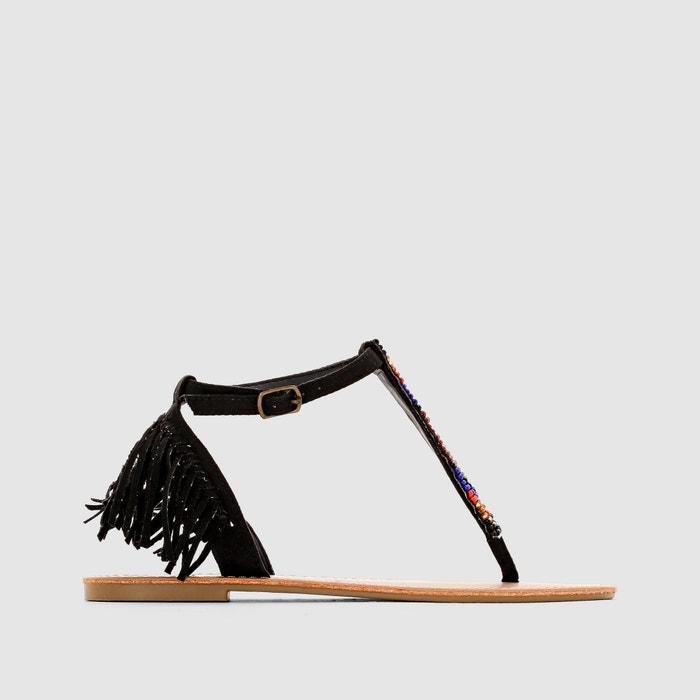 Imagen de Sandalias con tira entre los dedos y flecos, de tacón plano, MYRA COOLWAY
