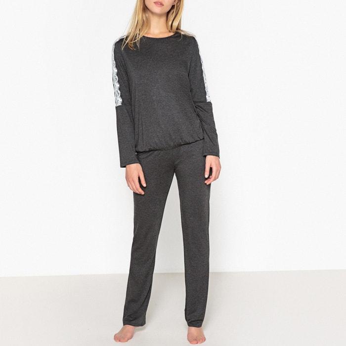 Olala Long-Sleeved Pyjamas with Lacy Trim  LE CHAT image 0