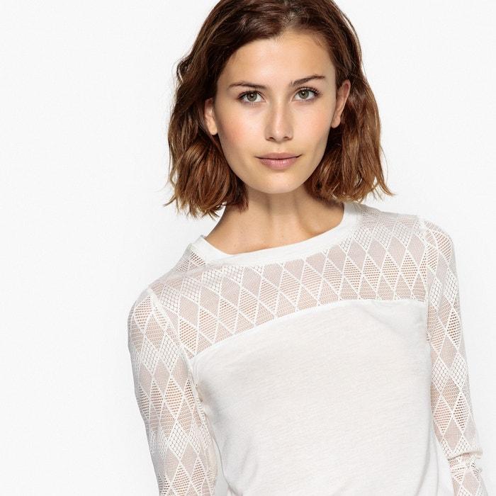 T-shirt scollo rotondo, pizzo a scollatura e maniche  BERANGERE image 0