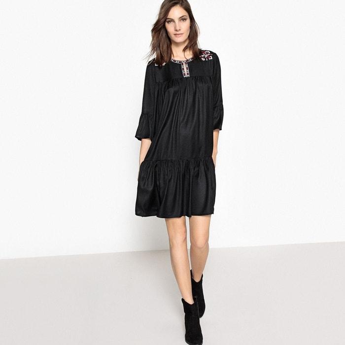 robe evasee patineuse uni courte manches 3 4 noir la With affiche chambre bébé avec robe fleurie patineuse
