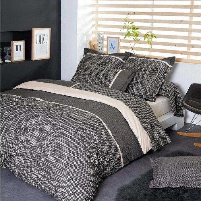 parure de lit percale gatsby tradilinge noir tradilinge. Black Bedroom Furniture Sets. Home Design Ideas