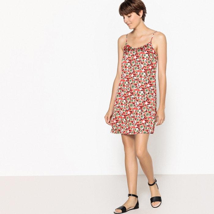 estampado Redoute La y recto Vestido finos con tirantes Collections flores corto de f0xArfd