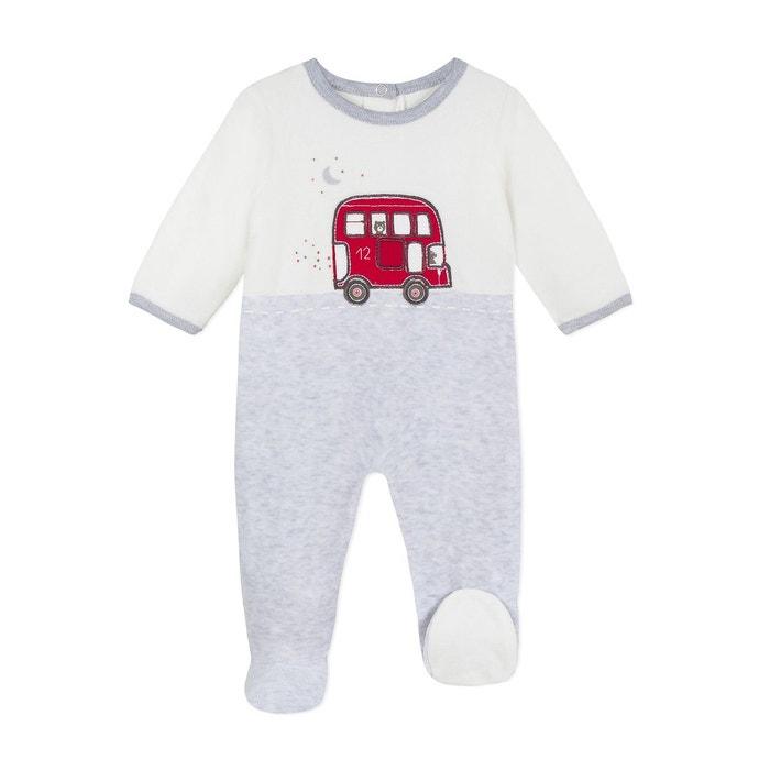 c26c6e20545ff Pyjama en velours 3 mois - 12 mois gris chiné Absorba