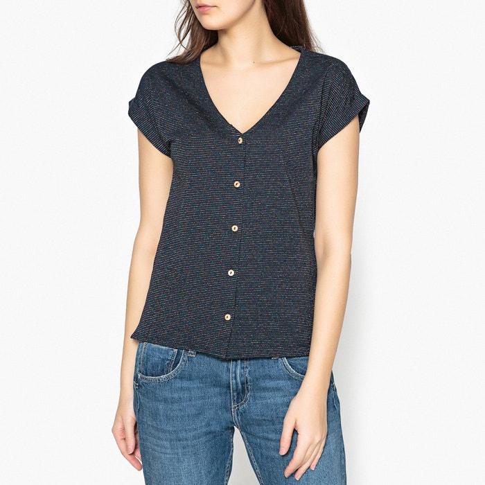 La Petite Sirene Striped Buttoned V-Neck T-Shirt  BLUNE image 0