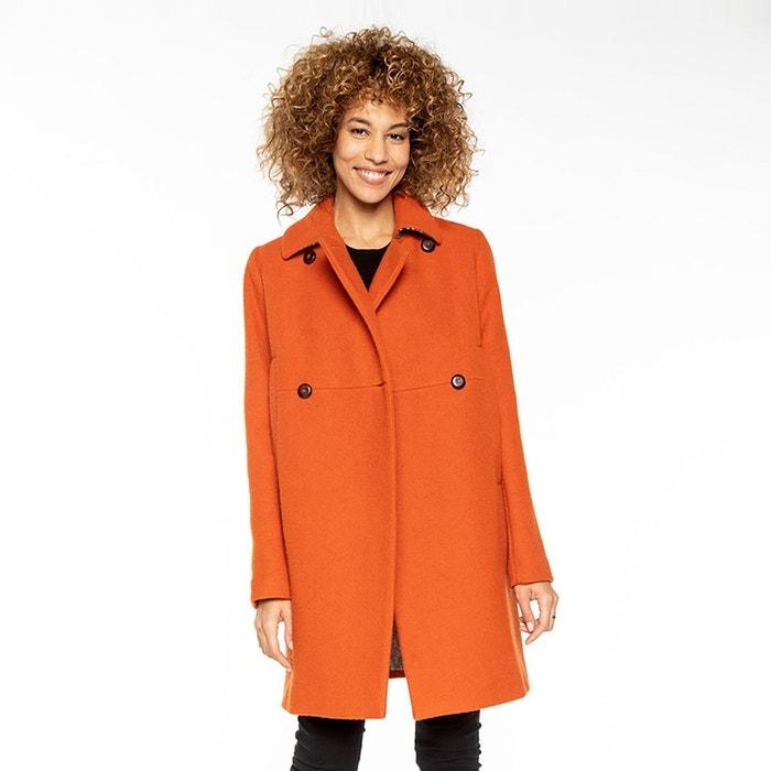 Manteau coupe rétro femme laine bouclette orange Trench & Coat