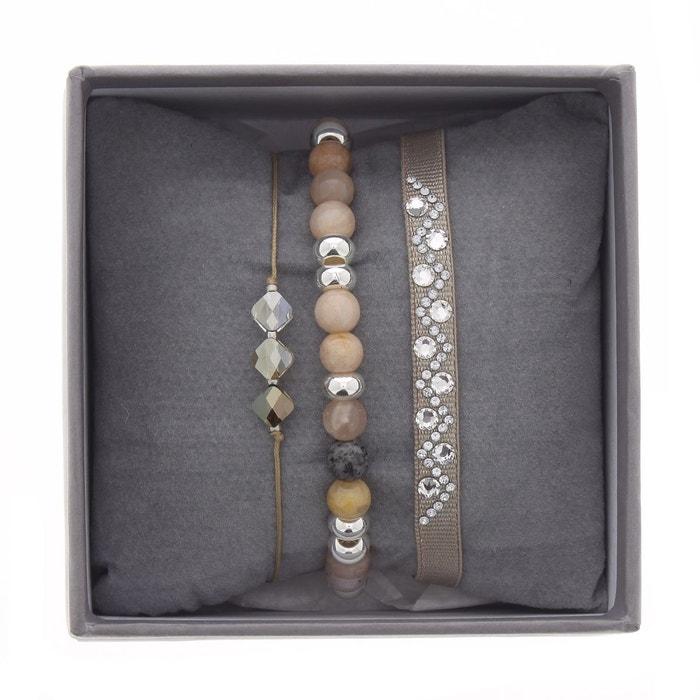 Coffret les interchangeables, bracelets en satin blanc, cristal blanc et sun stone blanc Les Interchangeables | La Redoute