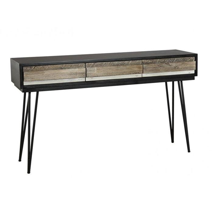 console en acacia massif noir 3 tiroirs bandes teintes vari es et pieds m tal noir 140 5x35x81cm. Black Bedroom Furniture Sets. Home Design Ideas