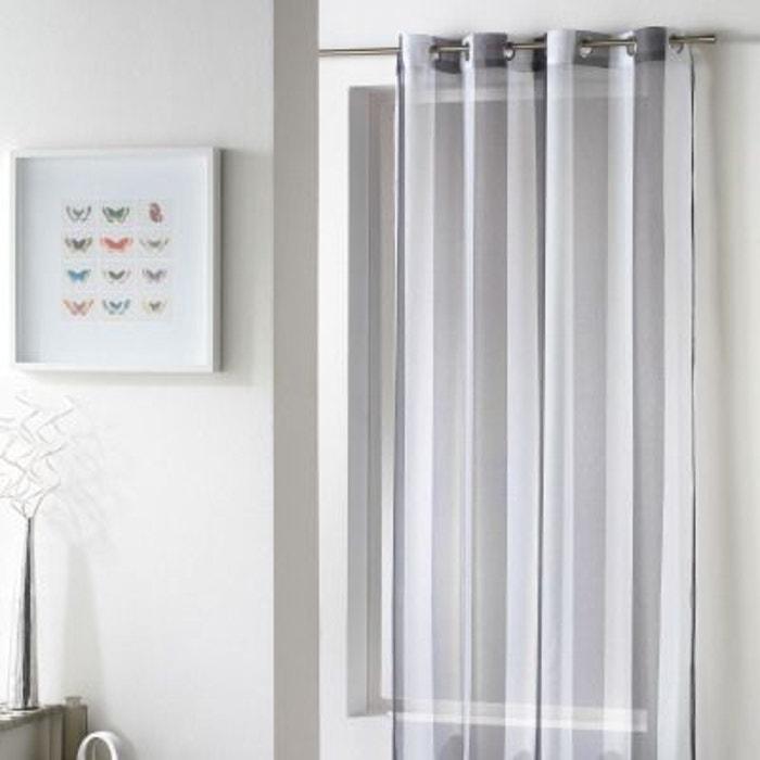 voilage oeillets 140x240 bayad re riviera blanc gris douceur d interieur la redoute. Black Bedroom Furniture Sets. Home Design Ideas