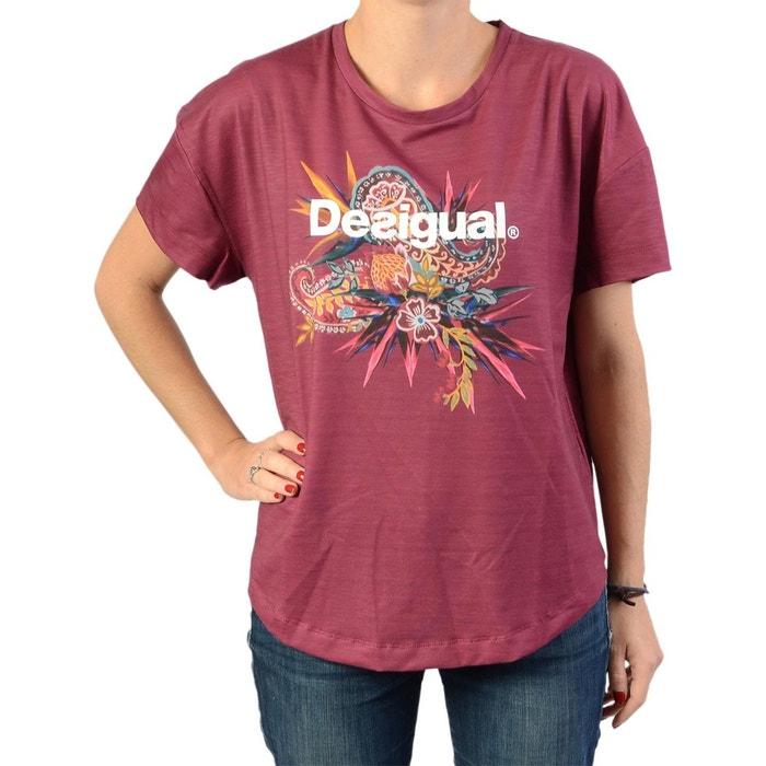 Tee-shirt oversize ethnic ruby wine Desigual