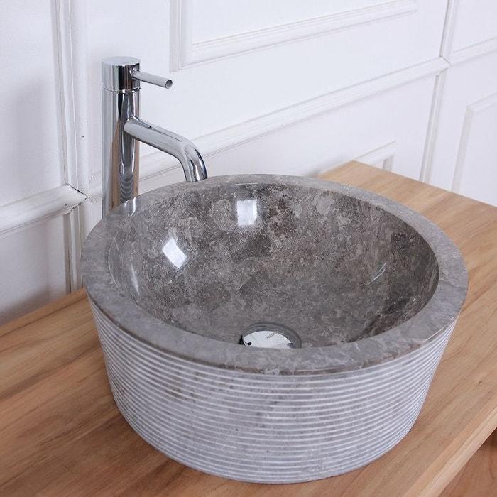 vasque pierre grise Vasque tambour en pierre de marbre gris marbre Bois Dessus Bois Dessous |  La Redoute