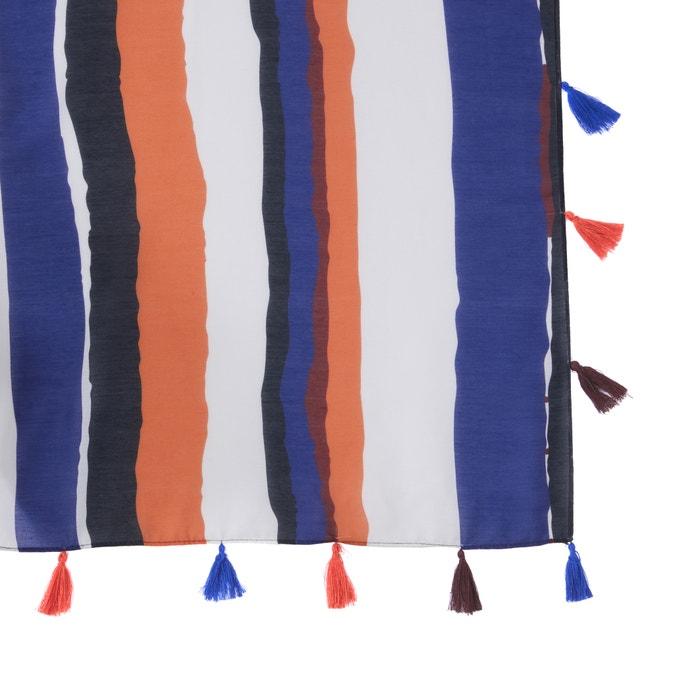 0b54f0bcfe3 Fular a rayas rayas azul oscuro camel La Redoute Collections