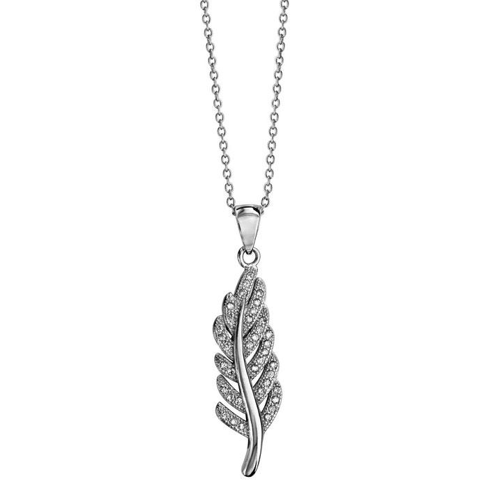 Collier longueur réglable: 40 à 45 cm pendentif plume oxyde de zirconium blanc argent 925 couleur unique So Chic Bijoux | La Redoute Jeu Pas Cher nQKrC2IO6Z