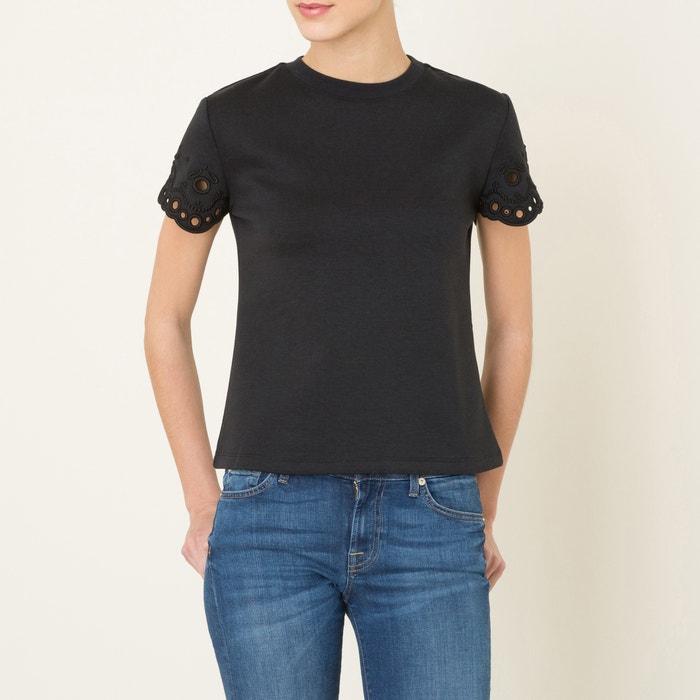 afbeelding T-shirt met korte mouwen en Engelse kant CARVEN