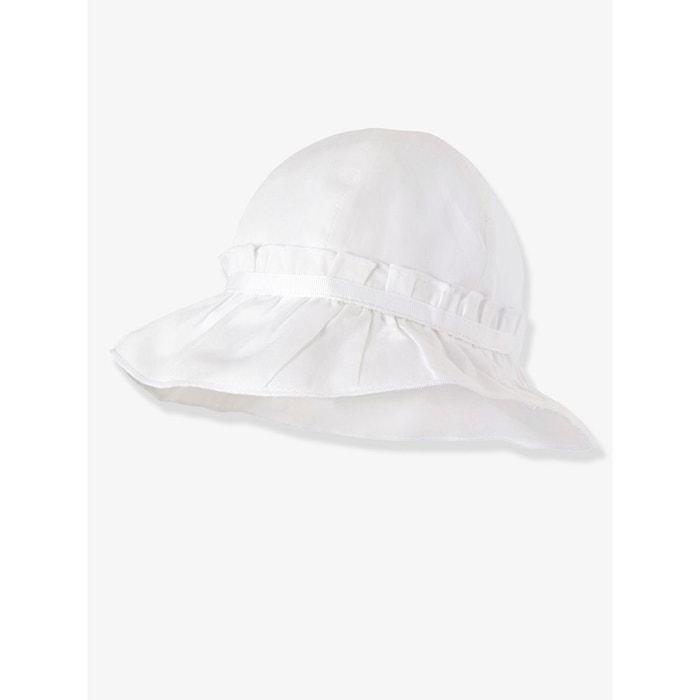 chapeau b b fille volants pliss s blanc vertbaudet la. Black Bedroom Furniture Sets. Home Design Ideas