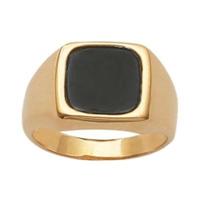 Bague chevalière rectangulaire onyx imitation noir plaqué or 750 couleur unique So Chic Bijoux | La Redoute Bonne Vente hGJv5oz