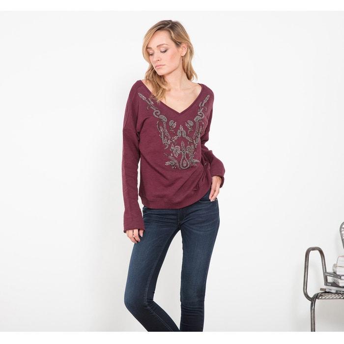 Cotton Sweatshirt with Jewelled Embroidery  LE TEMPS DES CERISES image 0