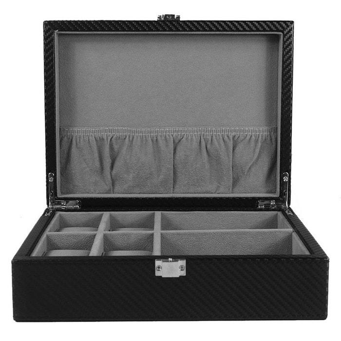 ecrin luxe fibre de carbon finition cuir 4 montres boutons de manchette kennett noir kennett. Black Bedroom Furniture Sets. Home Design Ideas