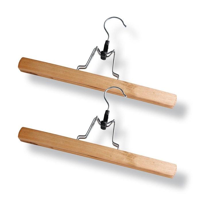 cintre porte pantalon en bois lot de 2 bois clair casame la redoute. Black Bedroom Furniture Sets. Home Design Ideas