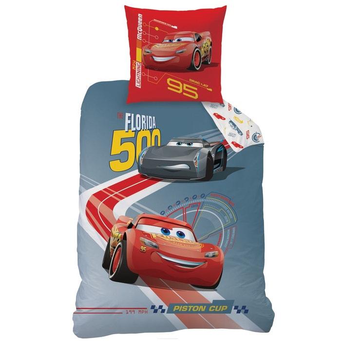 Housse de couette et taie d 39 oreiller 140x200 cm cars race polycoton gris cars la redoute - Housse de couette cars 140x200 ...