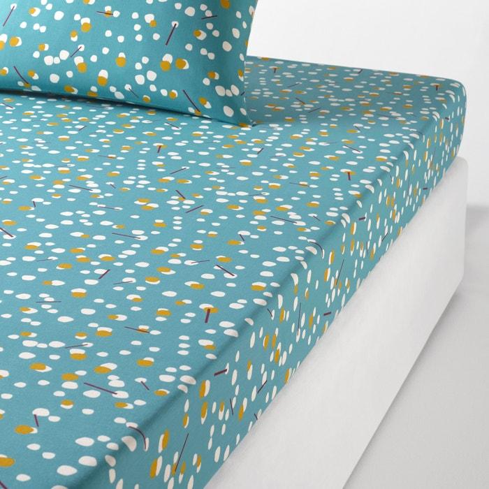 drap housse imprim pois qanik bleu c ladon la redoute interieurs la redoute. Black Bedroom Furniture Sets. Home Design Ideas