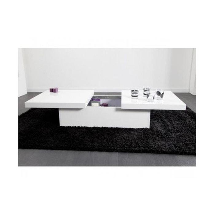 table basse coulissante blanche madrid blanc declikdeco la redoute. Black Bedroom Furniture Sets. Home Design Ideas