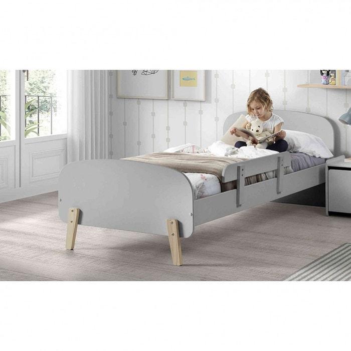 lit enfant gris avec sommier et barri re gris terre de nuit la redoute. Black Bedroom Furniture Sets. Home Design Ideas