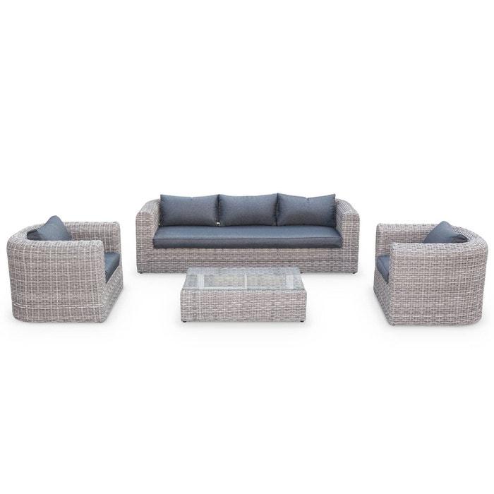 Salon de jardin Juliano en résine tressée arrondie 3 tailles, 5 places  canapé fauteuil