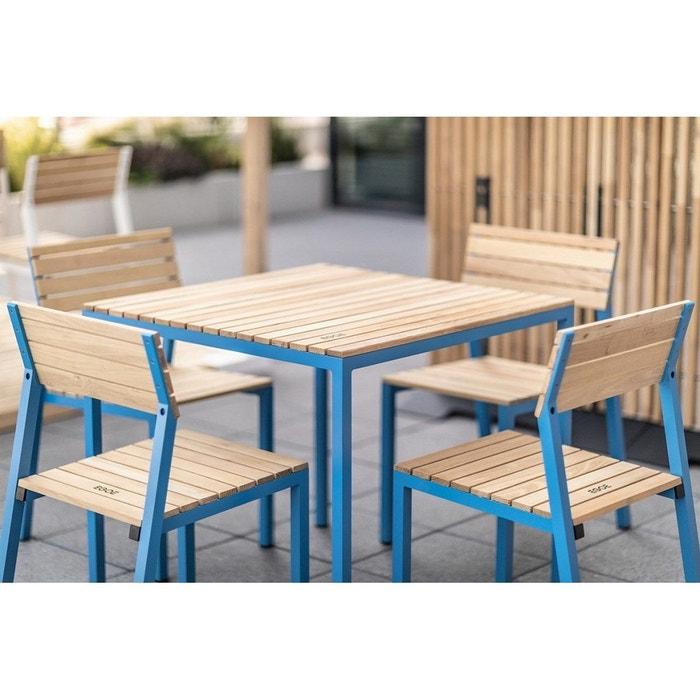 Salon de jardin CORA table carrée et 4 chaises alu bleu et acacia EGOE