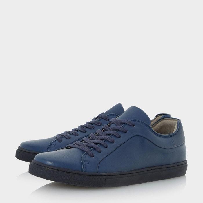 Colour block cupsole trainer - tricks bleu cuir Dune London
