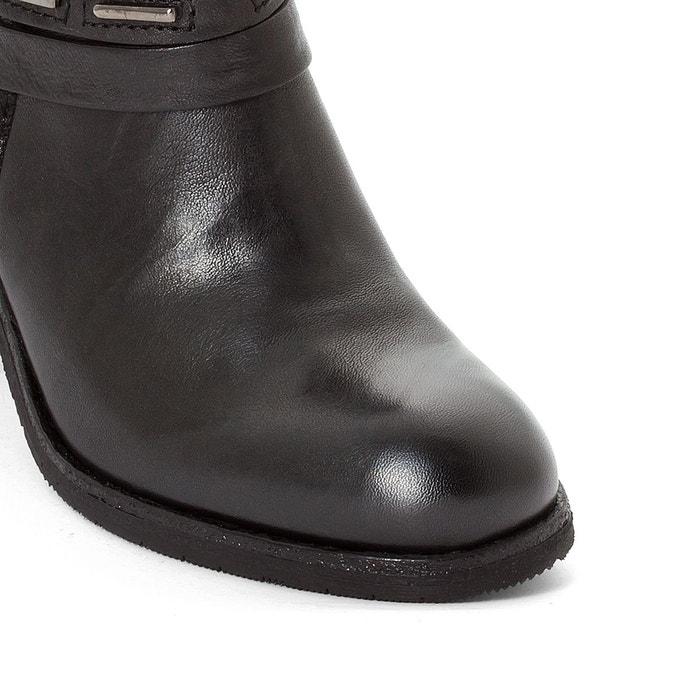 Boots cuir shaggy noir/imprimé Mjus