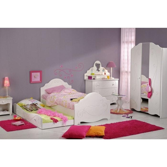 Chambre complète 90×190 en bois blanc megève cb1005 blanc