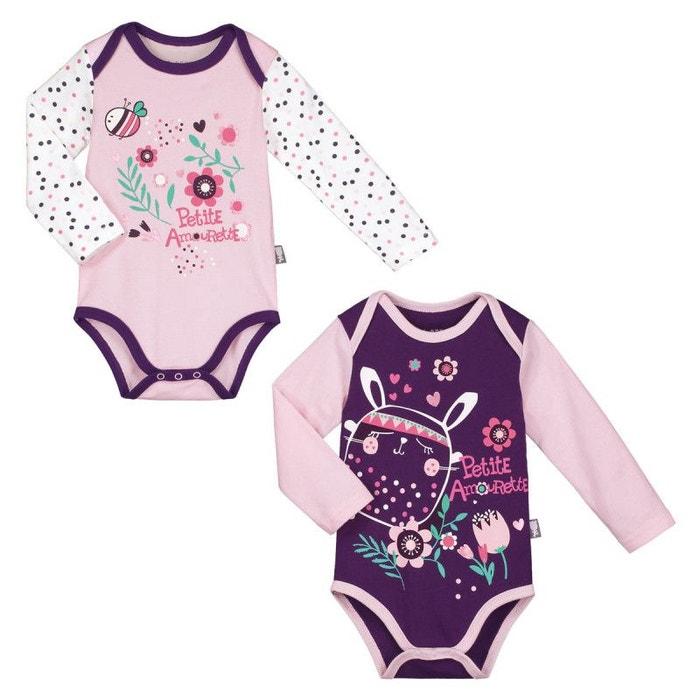 Lot de 2 bodies manches longues bébé fille plumette violet Petit Beguin  de390d86d4a