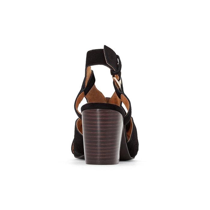 Sandales cuir brides croisées noir La Redoute Collections