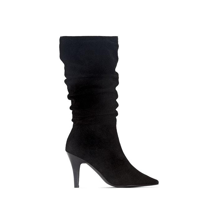 Boots cuir plissées noir Mademoiselle R