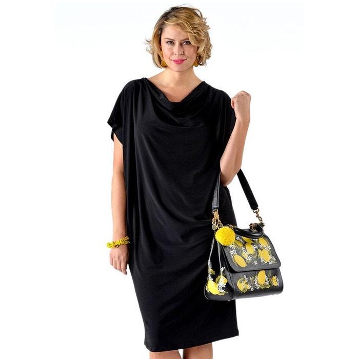 robe encolure en cascade noir yoek la redoute. Black Bedroom Furniture Sets. Home Design Ideas