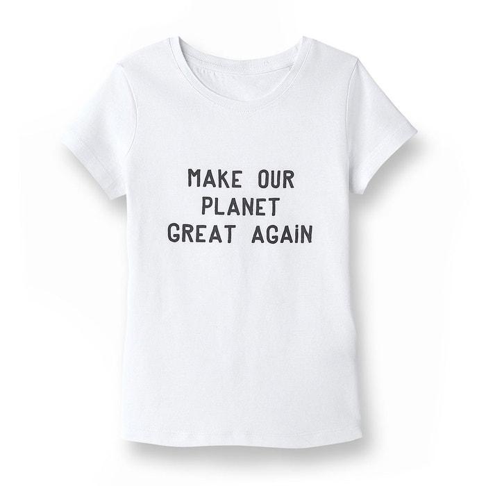 tee shirt message coton issu de l agriculture bio blanc la redoute collections la redoute. Black Bedroom Furniture Sets. Home Design Ideas