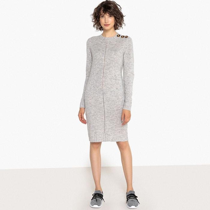 34039541ae Robe pull, forme housse unie détails boutons col gris chiné La Redoute  Collections | La Redoute