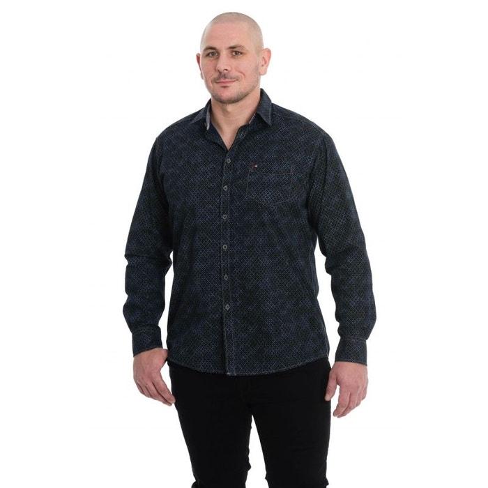 chemise marine degrad de noir avec pois gris bleu jupiter la redoute. Black Bedroom Furniture Sets. Home Design Ideas
