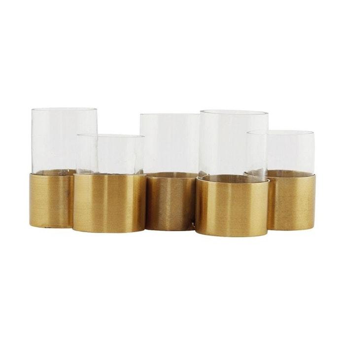 Vase, bougeoir, centre de table doré et verre HOUSE DOCTOR