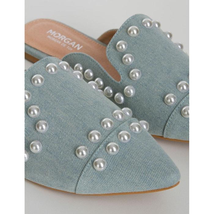 Mules plates décor perlé bleu Morgan