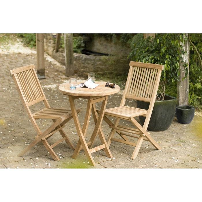 Salon de jardin table d\'extérieur ronde pliante 60cm 2 chaises pliantes en  bois de teck SUMMER