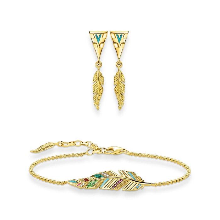 Bracelet avec boucles d'oreilles plume couleur or jaune, turquoise, blanc, rouge, vert Thomas Sabo   La Redoute